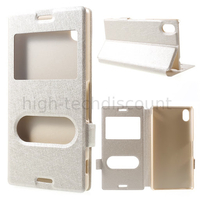 Housse etui coque portefeuille view case pour Sony Xperia M4 Aqua Dual + film ecran - CHAMPAGNE