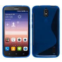 Housse etui coque pochette silicone gel fine pour Huawei Ascend Y625 + film ecran - BLEU