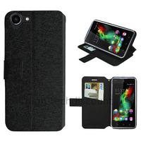 Housse etui coque pochette portefeuille pour Wiko Selfy 4G + film ecran - NOIR