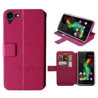 Housse etui coque pochette portefeuille pour Wiko Selfy 4G + film ecran - ROSE