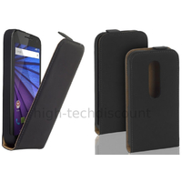Housse etui coque PU cuir fine pour Motorola Moto G 3eme generation + film ecran - NOIR