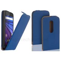 Housse etui coque PU cuir fine pour Motorola Moto G 3eme generation + film ecran - BLEU