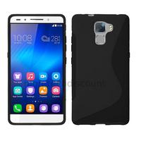 Housse etui coque pochette silicone gel fine pour Huawei Honor 7 + film ecran - NOIR