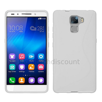 Housse etui coque pochette silicone gel fine pour Huawei Honor 7 + film ecran - BLANC