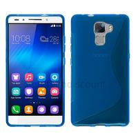 Housse etui coque pochette silicone gel fine pour Huawei Honor 7 + film ecran - BLEU