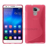 Housse etui coque pochette silicone gel fine pour Huawei Honor 7 + film ecran - ROSE