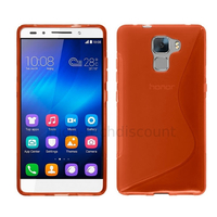 Housse etui coque pochette silicone gel fine pour Huawei Honor 7 + film ecran - ROUGE