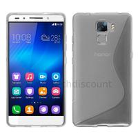 Housse etui coque pochette silicone gel fine pour Huawei Honor 7 + film ecran - TRANSPARENT