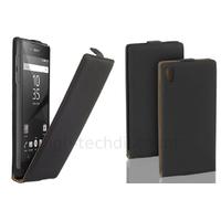 Housse etui coque pochette PU cuir fine pour Sony Xperia Z5 + film ecran - NOIR