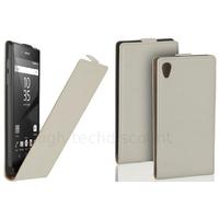 Housse etui coque pochette PU cuir fine pour Sony Xperia Z5 + film ecran - BLANC