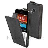 Housse etui coque pochette PU cuir fine pour Nokia 220 - NOIR