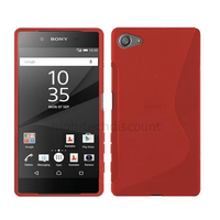 Housse etui coque pochette silicone gel fine pour Sony Xperia Z5 Compact + film ecran - ROUGE