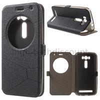 Housse etui coque pochette portefeuille view case pour Asus Zenfone 2 Laser ZE500KL + film ecran - NOIR