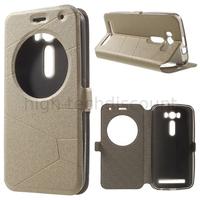 Housse etui coque pochette portefeuille view case pour Asus Zenfone 2 Laser ZE500KL + film ecran - CHAMPAGNE