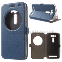 Housse etui coque pochette portefeuille view case pour Asus Zenfone 2 Laser ZE500KL + film ecran - BLEU