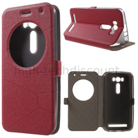 Housse etui coque pochette portefeuille view case pour Asus Zenfone 2 Laser ZE500KL + film ecran - ROUGE