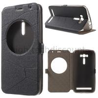 Housse etui coque portefeuille view case pour Asus Zenfone 2 Laser ZE550KL + film ecran - NOIR
