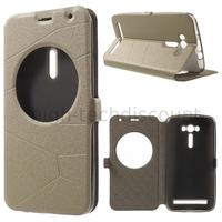 Housse etui coque portefeuille view case pour Asus Zenfone 2 Laser ZE550KL + film ecran - CHAMPAGNE