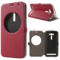 Housse etui coque portefeuille view case pour Asus Zenfone 2 Laser ZE550KL + film ecran - ROUGE