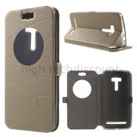 Housse etui coque pochette portefeuille view case pour Asus Zenfone Selfie ZD551KL  + film ecran - CHAMPAGNE