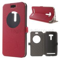 Housse etui coque pochette portefeuille view case pour Asus Zenfone Selfie ZD551KL  + film ecran - ROUGE