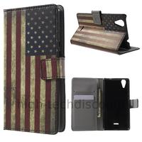 Housse etui coque pochette portefeuille PU cuir pour Wiko Rainbow Lite 4G + film ecran - USA