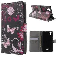Housse etui coque pochette portefeuille PU cuir pour Wiko Rainbow Lite 4G + film ecran - FLEURS N