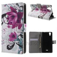 Housse etui coque pochette portefeuille PU cuir pour Wiko Rainbow Lite 4G + film ecran - LOTUS