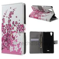 Housse etui coque pochette portefeuille PU cuir pour Wiko Rainbow Lite 4G + film ecran - CERISIER