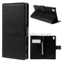Housse etui coque pochette portefeuille PU cuir pour Sony Xperia Z5 + film ecran - NOIR