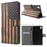 Housse etui coque pochette portefeuille PU cuir pour Sony Xperia Z5 + film ecran - USA