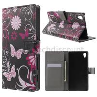Housse etui coque pochette portefeuille PU cuir pour Sony Xperia Z5 + film ecran - FLEURS N