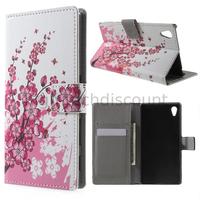 Housse etui coque pochette portefeuille PU cuir pour Sony Xperia Z5 + film ecran - CERISIER