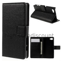 Housse etui coque pochette portefeuille PU cuir pour Sony Xperia Z5 Compact + film ecran - NOIR