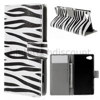 Housse etui coque pochette portefeuille PU cuir pour Sony Xperia Z5 Compact + film ecran - ZEBRE