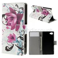 Housse etui coque pochette portefeuille PU cuir pour Sony Xperia Z5 Compact + film ecran - LOTUS