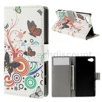 Housse etui coque pochette portefeuille PU cuir pour Sony Xperia Z5 Compact + film ecran - PAPILLONS