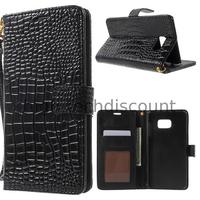 Housse etui coque portefeuille pour Samsung G928F Galaxy S6 Edge Plus + film ecran - NOIR CRODODILE