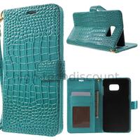 Housse etui coque portefeuille pour Samsung G928F Galaxy S6 Edge Plus + film ecran - BLEU CROCODILE