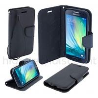 Housse etui coque pochette portefeuille pour Samsung Galaxy A3 + film ecran - NOIR / NOIR