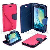 Housse etui coque pochette portefeuille pour Samsung Galaxy A3 + film ecran - ROSE / BLEU