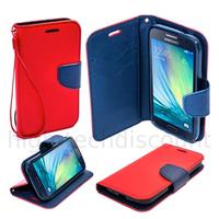Housse etui coque pochette portefeuille pour Samsung Galaxy A3 + film ecran - ROUGE / BLEU