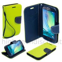 Housse etui coque pochette portefeuille pour Samsung Galaxy A3 + film ecran - VERT / BLEU