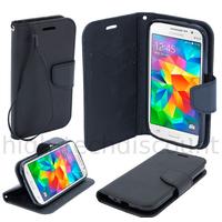 Housse etui coque pochette portefeuille pour Samsung G530H Galaxy Grand Prime + film ecran - NOIR / NOIR