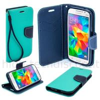 Housse etui coque pochette portefeuille pour Samsung G530H Galaxy Grand Prime + film ecran - BLEU / BLEU