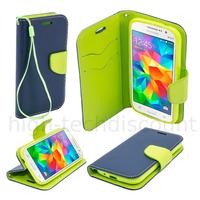 Housse etui coque pochette portefeuille pour Samsung G530H Galaxy Grand Prime + film ecran - BLEU / VERT