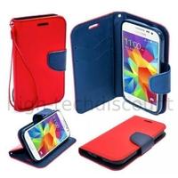 Housse etui coque pochette portefeuille pour Samsung G530H Galaxy Grand Prime + film ecran - ROUGE / BLEU