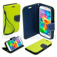 Housse etui coque pochette portefeuille pour Samsung G531H Galaxy Grand Prime VE + film ecran - VERT / BLEU