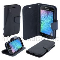 Housse etui coque pochette portefeuille pour Samsung Galaxy J1 + film ecran - NOIR / NOIR