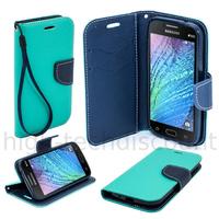 Housse etui coque pochette portefeuille pour Samsung Galaxy J1 + film ecran - BLEU / BLEU